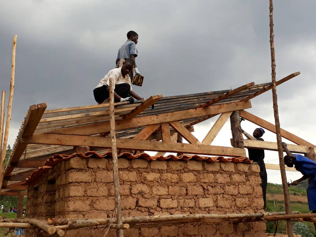 Nyange Leaders Are Constructing Storage Shelter For Roofing Tile Enterprise